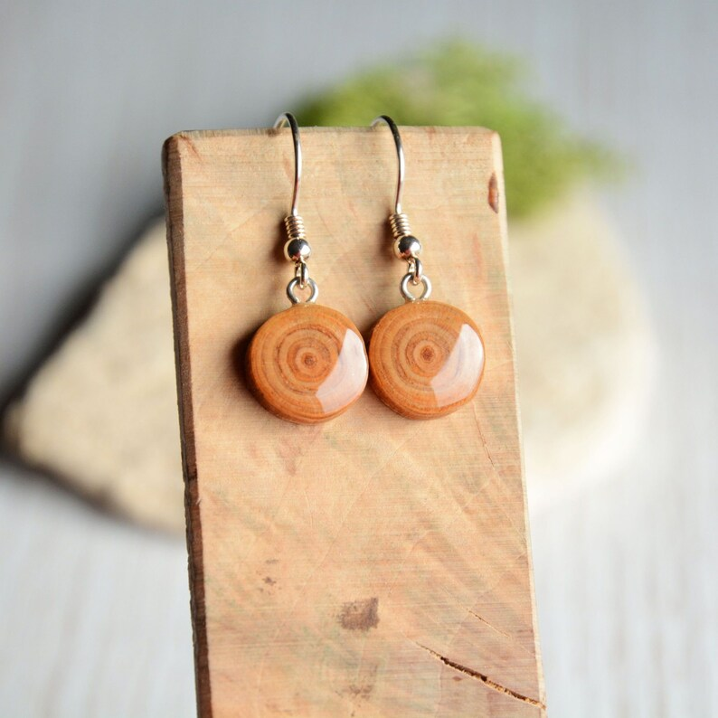 Natural wood dangle earrings organic wood tree branch image 0