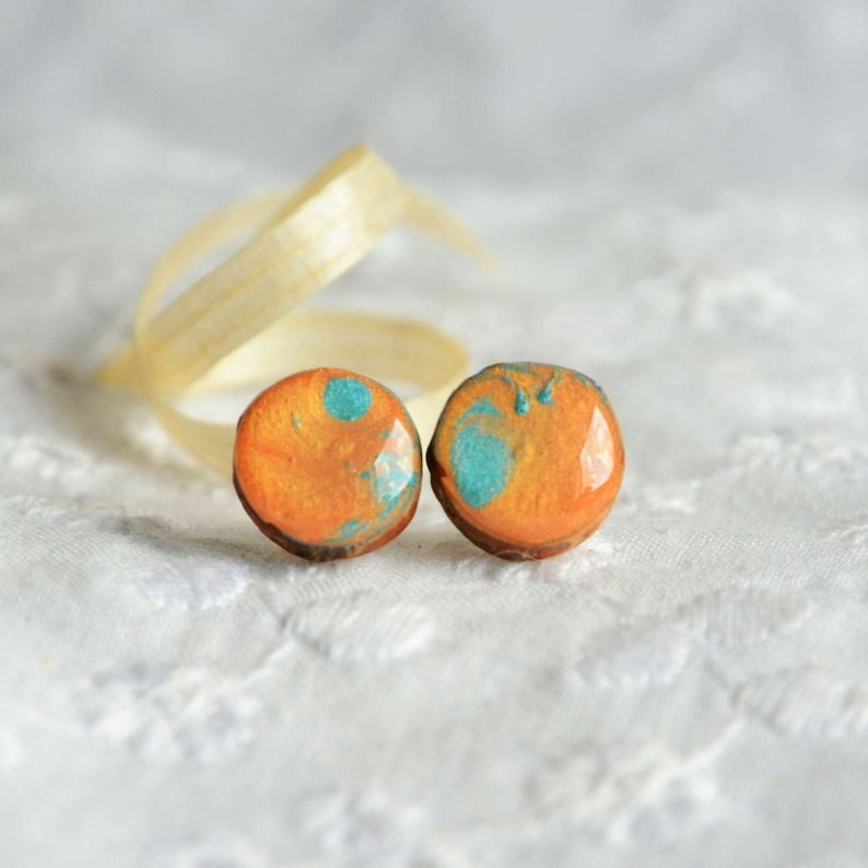 Colorful stud earrings hand painted on wood  vivid ear studs image 0