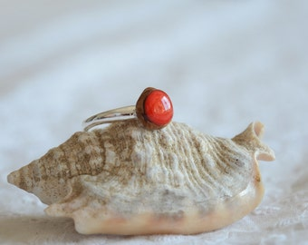 Red ring, made by nature ring, unique rings for her, small red gem ring, sterling silver wood ring, adjustable silver ring by MyPieceOfWood