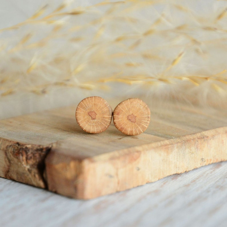 Minimalist and raw wooden mens ear studs made from natural image 0