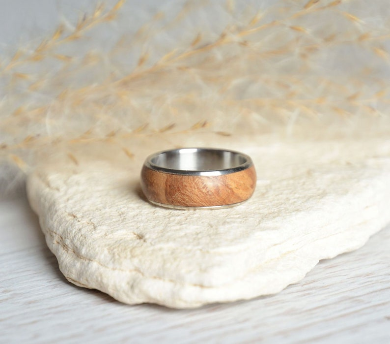 Wood ring size 55 wooden band ring with stainless steel image 0