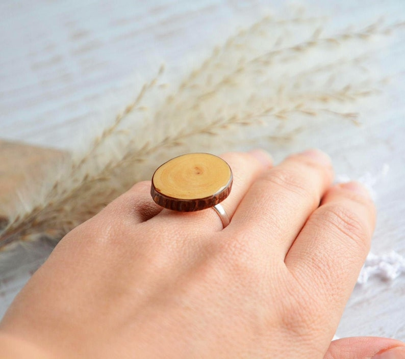 Statement ring made pine wood  natural wooden ring  raw image 0