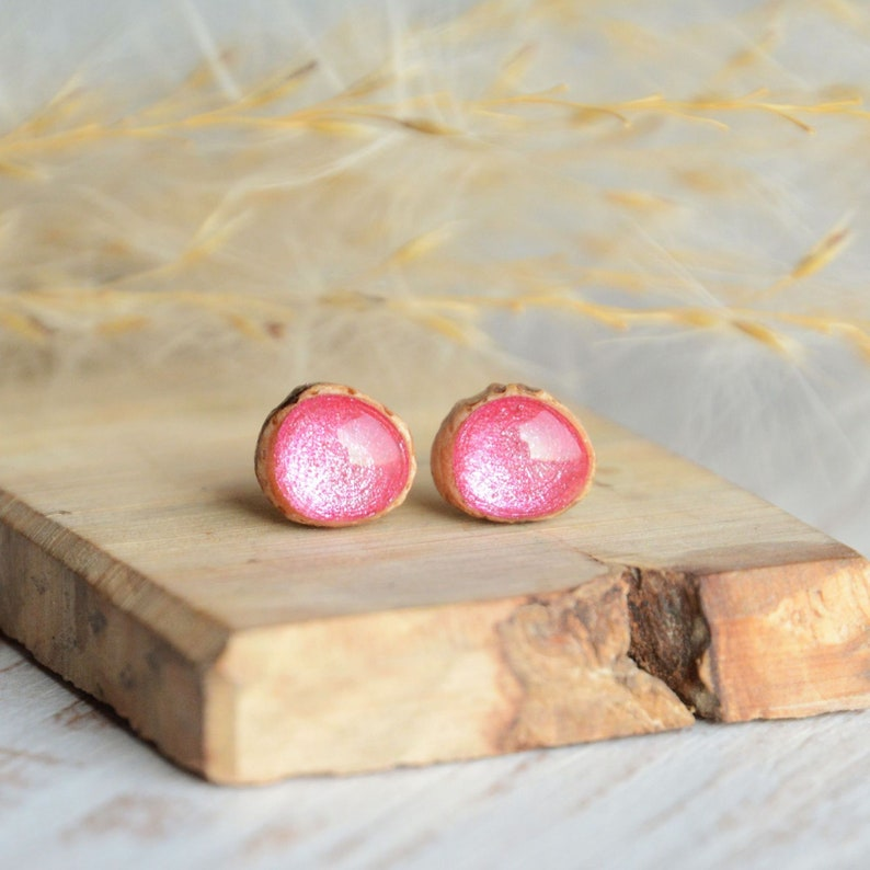 Tiny pink ear studs  hand painted wooden earrings with image 0