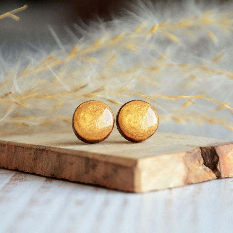 Mustard yellow ear stud made from reclaimed wood  fall image 0