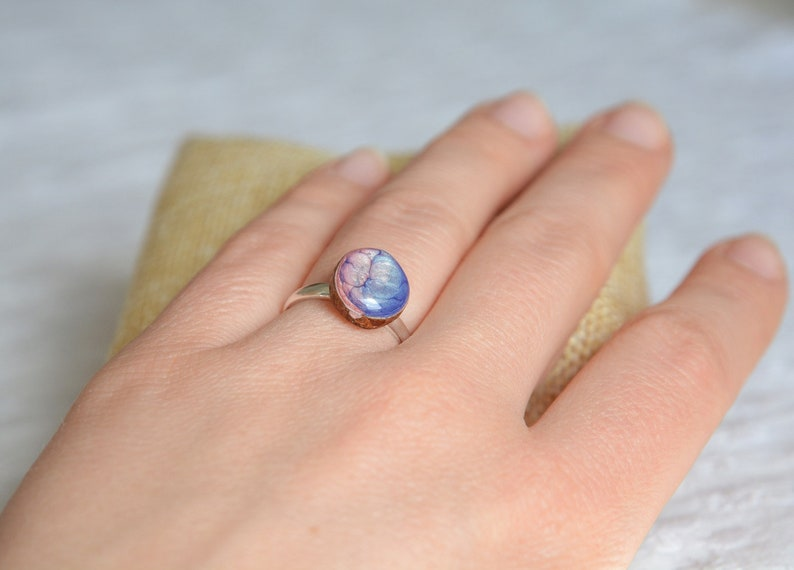 Unique hand painted ring made of wood and sterling silver  image 0