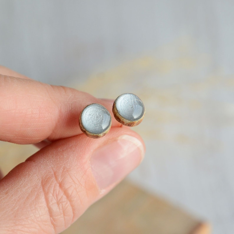 Gray small wooden ear studs  minimalist normcore earring made image 0