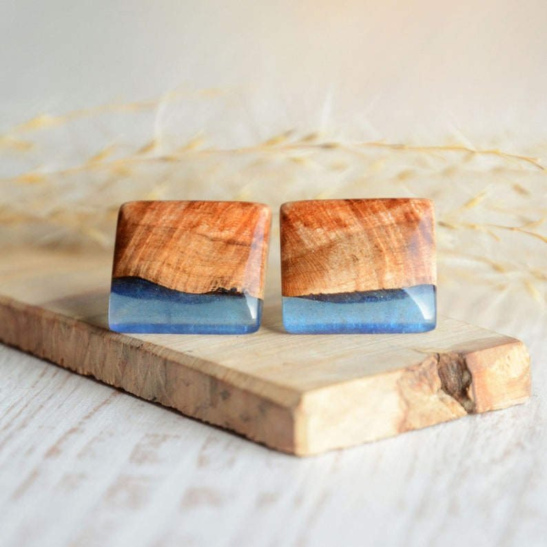 Square wood and resin earrings  Blue resin and wood large ear image 0