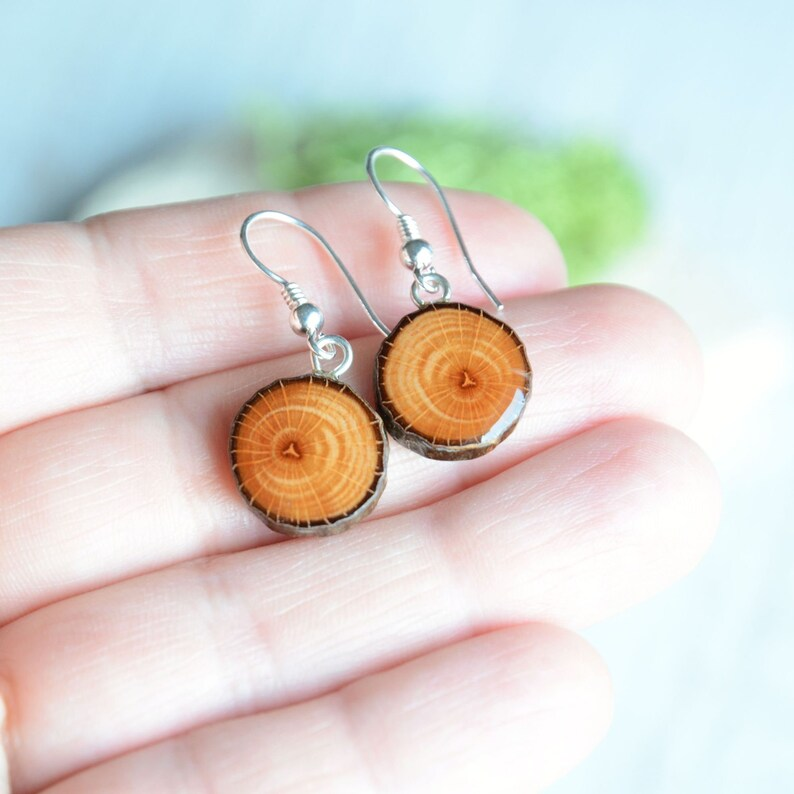 Alder wood dangle earrings made from organic tree branch  image 0