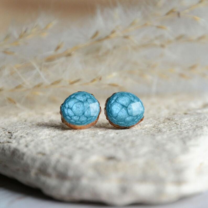 Light blue earrings  little wooden ear stud made form image 0