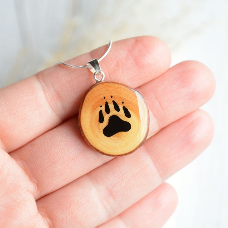 Paw necklace for animal lover  Hand painted pet paw wooden image 0