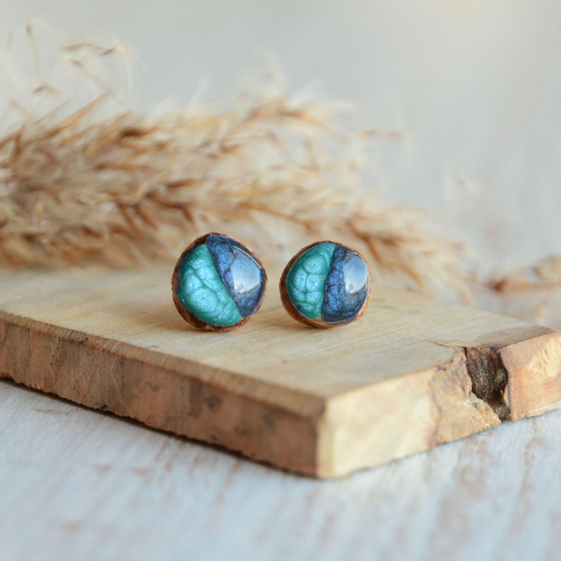 Little blue stud earrings small wooden ear studs hand image 0