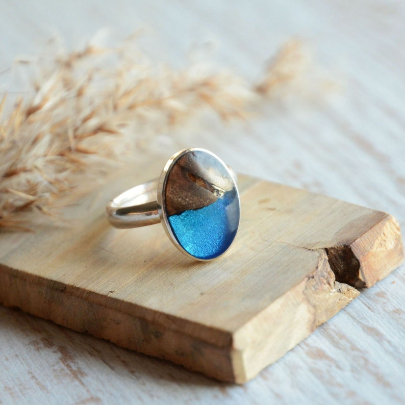Blue oval gem ring  Blue resin river ring  Ring made from image 0