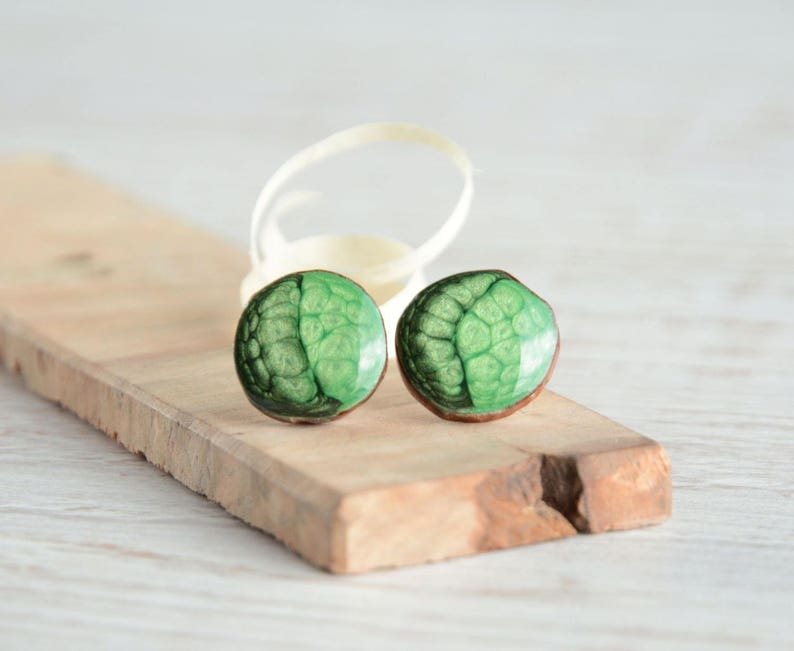 Green ear studs painted on wood with sterling silver posts  image 0