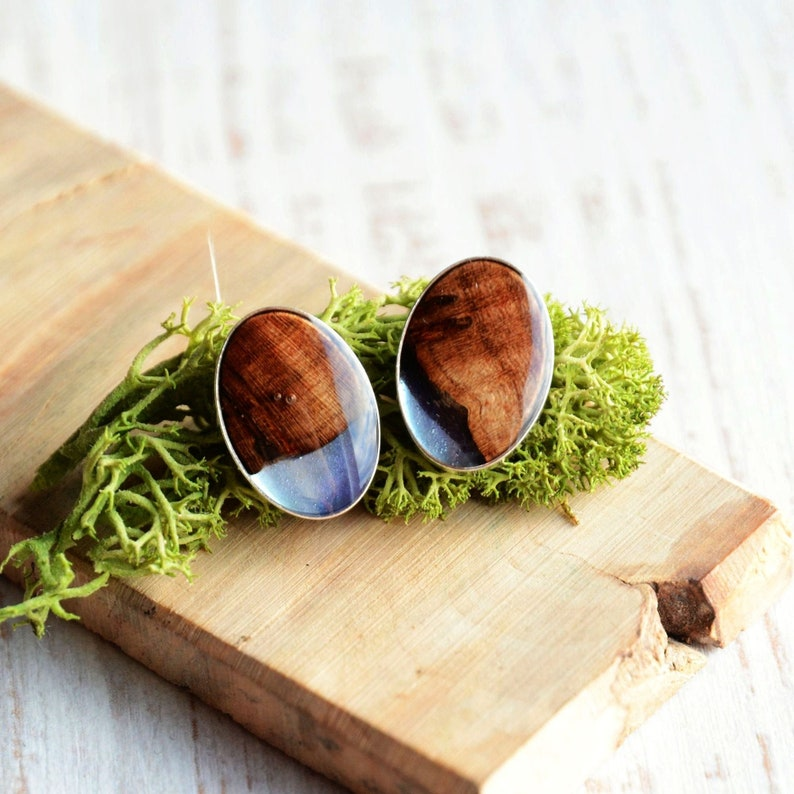 Blue oval stud earrings with reclaimed wood  Unique jewelry image 0