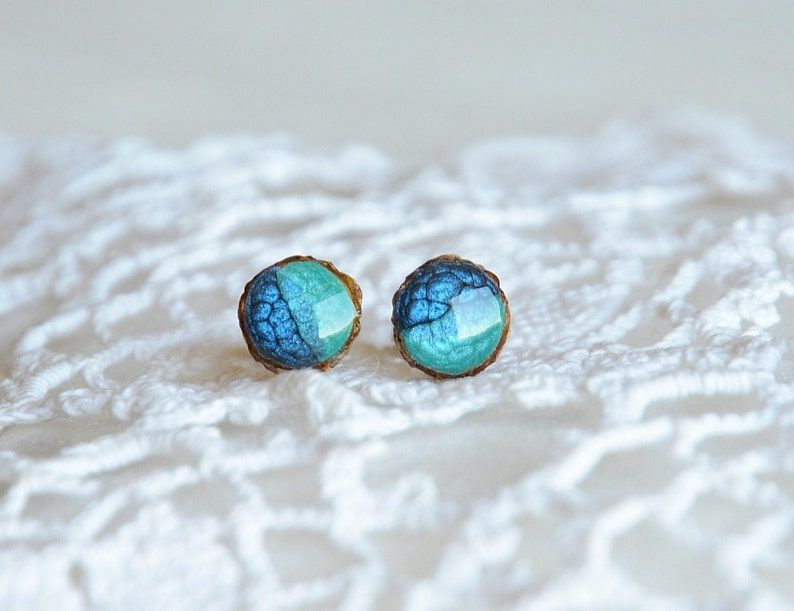 Shades of blue ocean earrings tiny blue and teal up cycled image 0