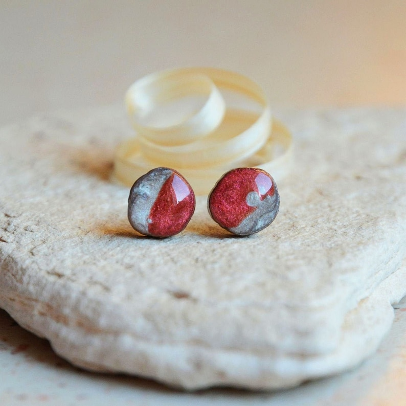 Red burgundy wine ear studs  hand painted tree branch jewelry image 0