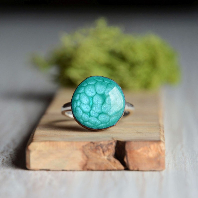 Hand painted light aqua blue ring made of wood and sterling image 0