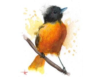 Orange Forage - 5.5 x 4.5 in - ORIGINAL Watercolor, Birds, UNFRAMED, Painting by Bruno M Carlos