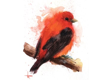 Scarlett tanager - 5.5 x 4.5 in - ORIGINAL Watercolor, Birds, UNFRAMED, Painting by Bruno M Carlos