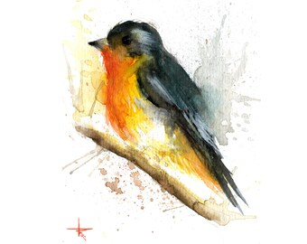 Gray and Orange Bird - 5.5 x 4.5 in - ORIGINAL Watercolor, Birds, UNFRAMED, Painting by Bruno M Carlos