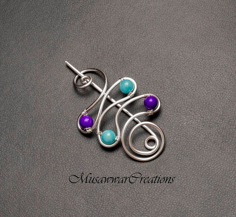 blue and purple stone shawl pin Silver shawl pin Valentine/'s gift for her, sweater brooch,silver plated scarf brooch