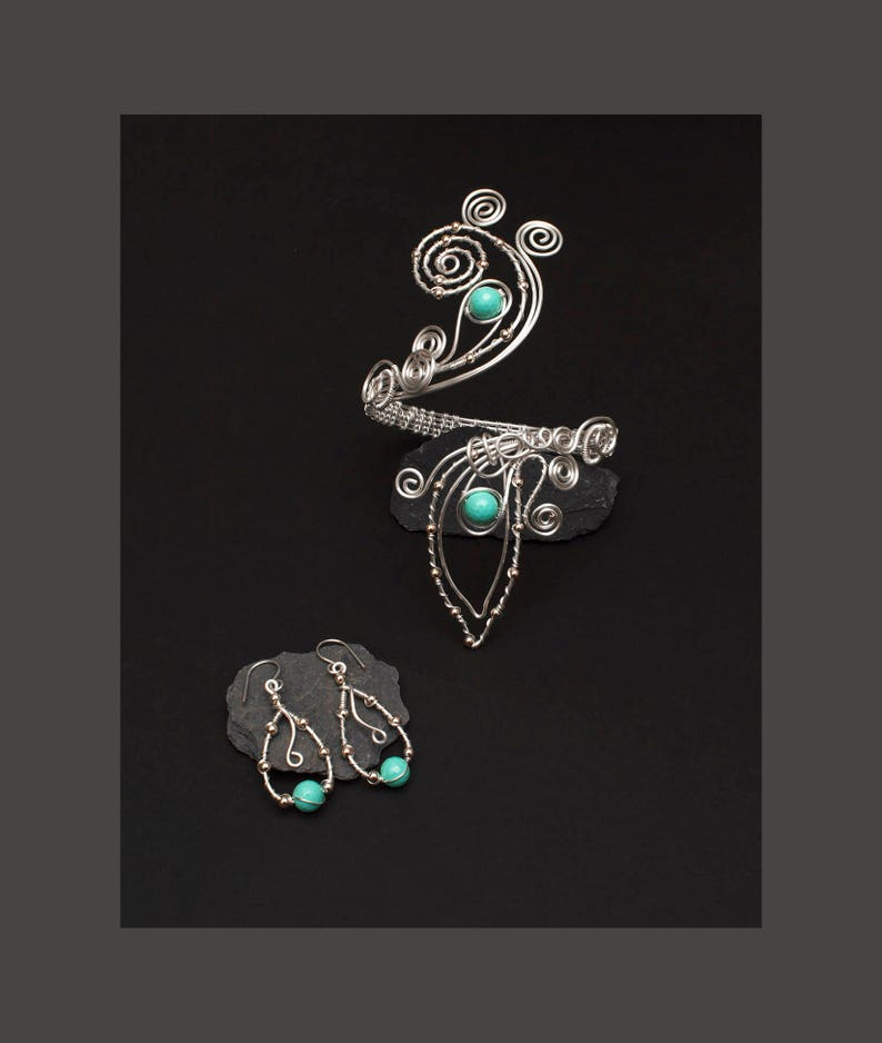 Silver swirl design  Upper Arm bracelet and earrings,light turquoise shelll pearl silver plated copper wire arm cuff Silver arm cuff