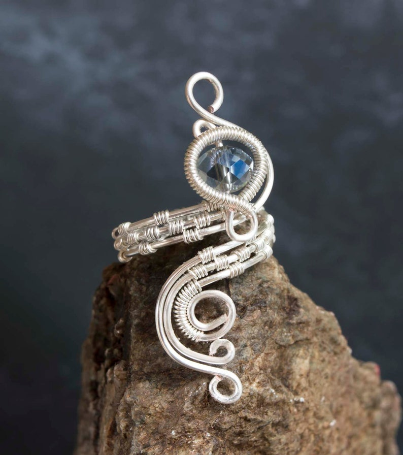 Silver wire ring,silver ring-adjustable,silver wire wrapped adjustable ring,woven silver ring.