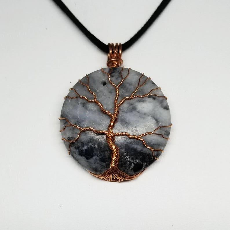 Wire Wrapped Tree of Life Pendant on Black and Grey Marble image 0