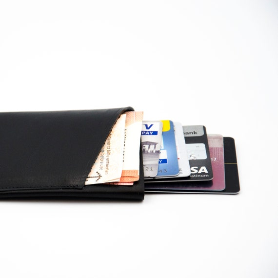 Leather Wallet Portemonnaie Etui Credit Card Case Made Of Cowhide Gift For Him Or Her Handmade In Berlin Black