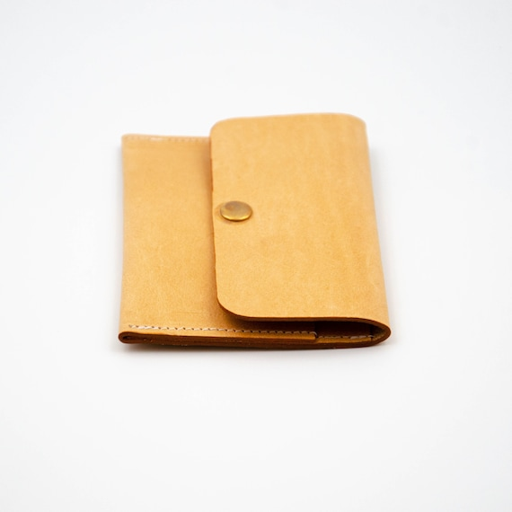 Leather Wallet Portemonnaie Etui Credit Card Case Made Of Cowhide With Pressed Button Gift For Him Or Her Handmade In Berlin Black