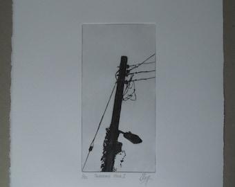 Telegraph Pole 1, etching, drypoint, industrial, urban, landscape