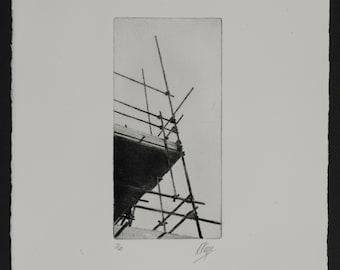 Scaffolding Print, etching, drypoint, industrial, urban, landscape