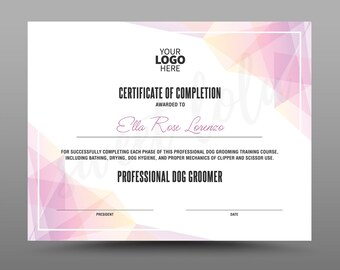 certificate template instant download certificate of completion editable ms word doc and photoshop file