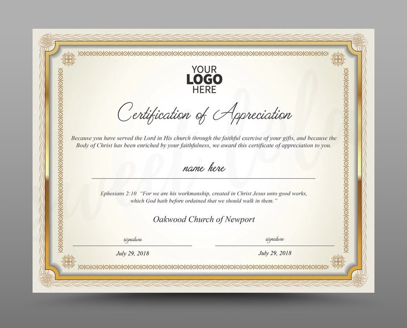Certificate Template, Instant Download Certificate of Appreciation -  Editable MS Word doc and Photoshop file Included