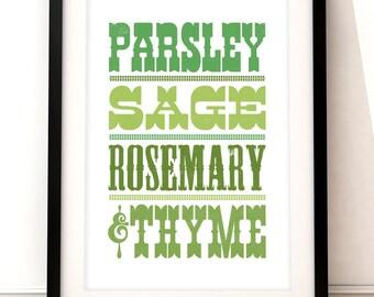 Kitchen art print, Kitchen herbs art, Simon & Garfunkel inspired art, typographic print, food and drink, typographic art, cooking art