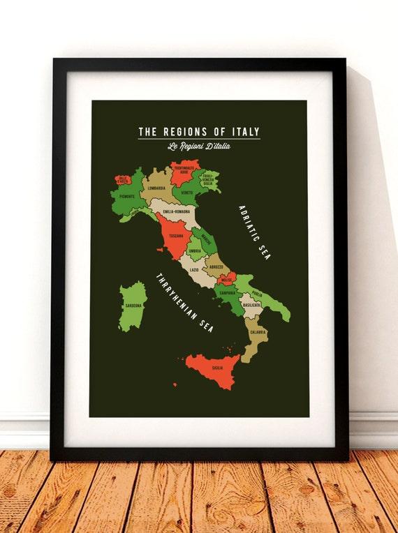 Map Of Italy Print Regional Map Of Italy Italy Art Print Etsy