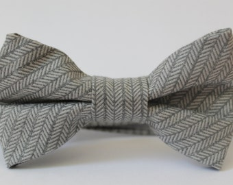 Gray herringbone bow tie with adjustable neckband closure, baby, boy