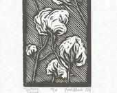 Southern King Cotton Woodblock Print