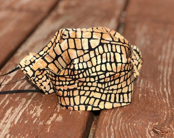 Tan Snake Print Washable Cotton Face Mask/ Made in USA