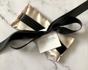 Champagne Satin Eye Pillow with Black Satin Ties/ Lavender Scented/Yoga Pillow/ Sleep Pillow/ Eye Cover/ Eye Mask