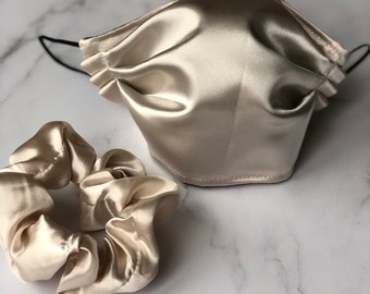 Champagne Satin/Cotton Face Mask and Scrunchie Set/ Made in USA/ Fashion Mask