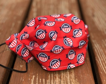 """Red """"Vote"""" Pin Washable Cotton Face Mask/ Made in USA"""