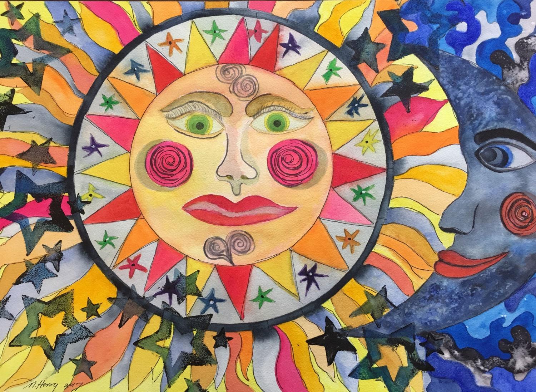 Sun Moon and Stars Wall Art Celestial Art Moon Sun Stars   Etsy