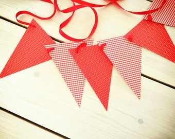 Red paper flags birthday decoration//Nursery decor//Red party decor//red pennants