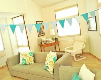 Paper bunting,Paper garland,party banner,Blue teal Nursery decor,Birthday decor,wedding flags,Teal bunting,18 paper flags,Baby boy shower