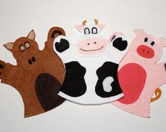 Farm Animals Hand Puppets (set of 3)