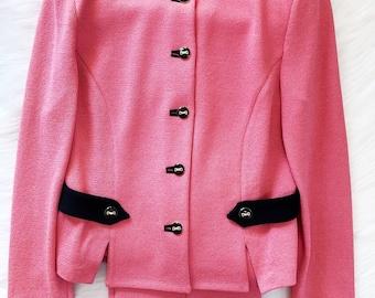 57d53eecae5f St John Collection Knit Jacket Pant Suit Set Sz 8 Bubble Pink Vtg Buttons