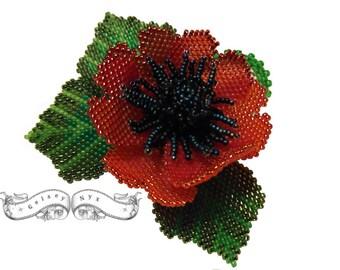 Made To Order - Poppy Brooch - Handmade Beaded brooch - Red Poppy Flower Brooch
