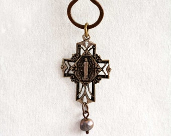 Vintage Cross Necklace / Religious Pendant