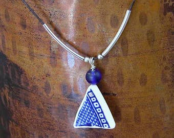Blue Willow Shard Necklace